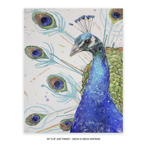 """Percy"" The Peacock 10"" x 8"" Unframed Art Print - Andy Thomas Artworks"