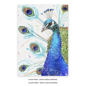 """Percy"" The Peacock A1 Unframed Art Print - Andy Thomas Artworks"
