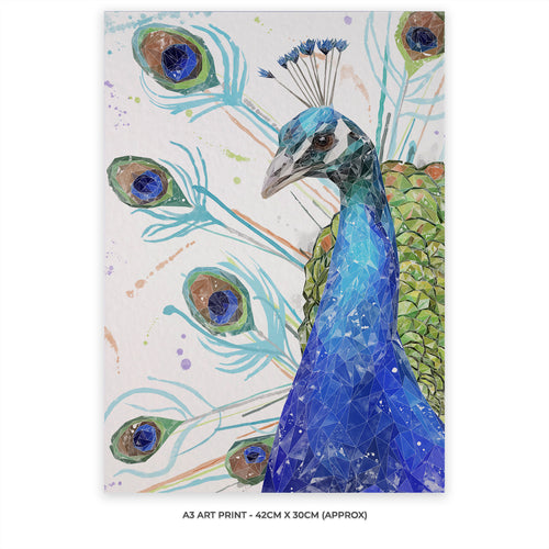 """Percy"" The Peacock A3 Unframed Art Print"
