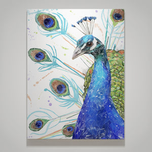"""Percy"" The Peacock Small Canvas Print - Andy Thomas Artworks"
