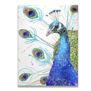 """Percy"" The Peacock Skinny Canvas Print - Andy Thomas Artworks"