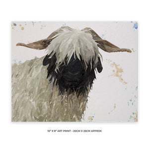 """Bertha"" The Valais Blacknose Sheep 10"" x 8"" Unframed Art Print - Andy Thomas Artworks"