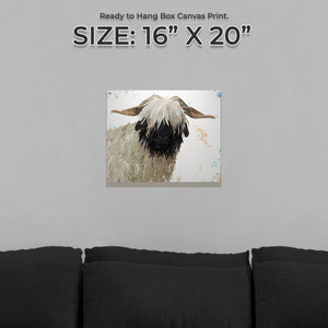 """Bertha"" The Valais Blacknose Sheep Small Canvas Print - Andy Thomas Artworks"