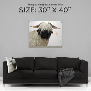 """Bertha"" The Valais Blacknose Sheep Large Canvas Print - Andy Thomas Artworks"