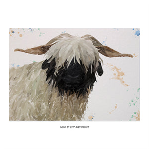"""Bertha"" The Valais Blacknose Sheep 5x7 Mini Print - Andy Thomas Artworks"