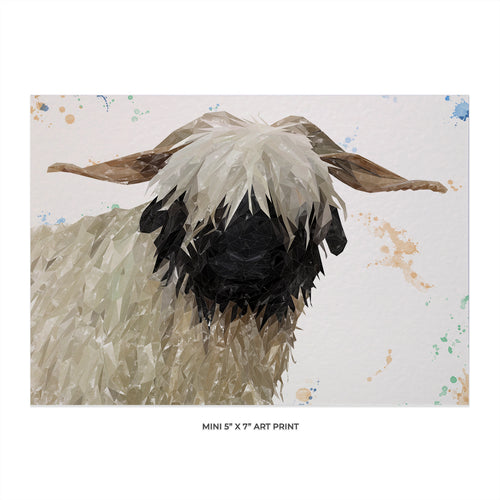 """Bertha"" The Valais Blacknose Sheep 5x7 Mini Print"