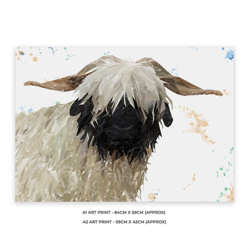 "NEW! ""Bertha"" The Valais Blacknose Sheep A2 Unframed Art Print"