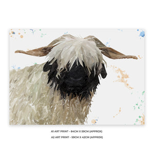 """Bertha"" The Valais Blacknose Sheep A1 Unframed Art Print - Andy Thomas Artworks"