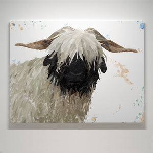 """Bertha"" The Valais Blacknose Sheep Medium Canvas Print - Andy Thomas Artworks"
