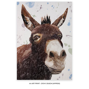 """Conka"" The Donkey A4 Unframed Art Print - Andy Thomas Artworks"