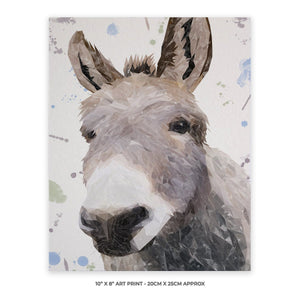 """Daphne"" The Donkey 10"" x 8"" Unframed Art Print - Andy Thomas Artworks"
