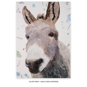 """Daphne"" The Donkey A3 Unframed Art Print - Andy Thomas Artworks"