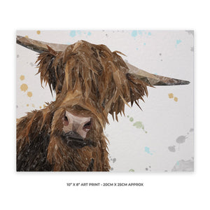"""Mac"" The Highland Bull 10"" x 8"" Unframed Art Print - Andy Thomas Artworks"