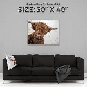 """Mac"" The Highland Bull Large Canvas Print - Andy Thomas Artworks"