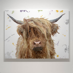 """Millie"" (Grey Background) The Highland Cow Medium Canvas Print"
