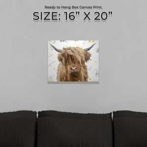 """Millie"" The Highland Cow Small Canvas Print - Andy Thomas Artworks"