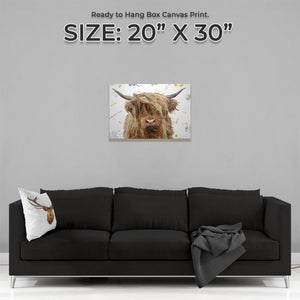 """Millie"" (Grey Background) The Highland Cow Medium Canvas Print - Andy Thomas Artworks"