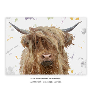 """Millie"" The Highland Cow A1 Unframed Art Print - Andy Thomas Artworks"