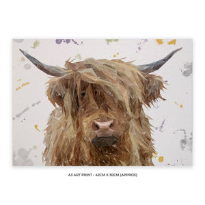 """Millie"" The Highland Cow A3 Unframed Art Print - Andy Thomas Artworks"