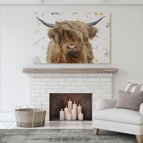 "NEW! ""Millie"" The Highland Cow Massive Canvas Print"
