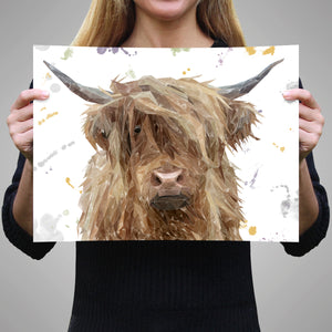"""Millie"" The Highland Cow A2 Unframed Art Print - Andy Thomas Artworks"