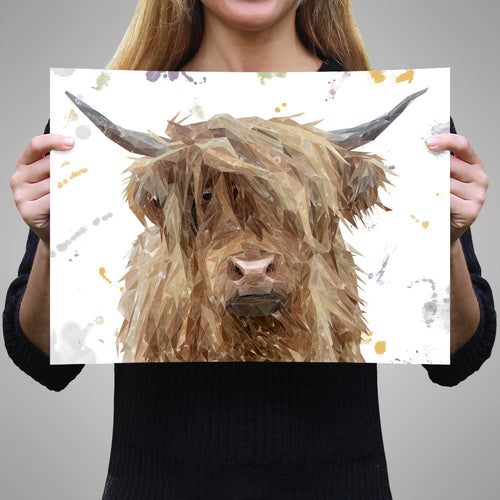 "NEW ""Millie"" The Highland Cow A3 Unframed Art Print"
