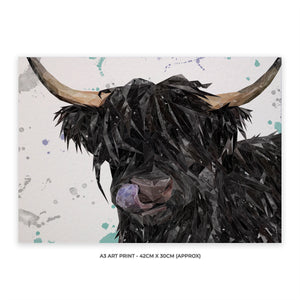 """Mabel"" The Highland Cow A3 Unframed Art Print - Andy Thomas Artworks"