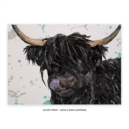"NEW ""Mabel"" The Highland Cow A3 Unframed Art Print"