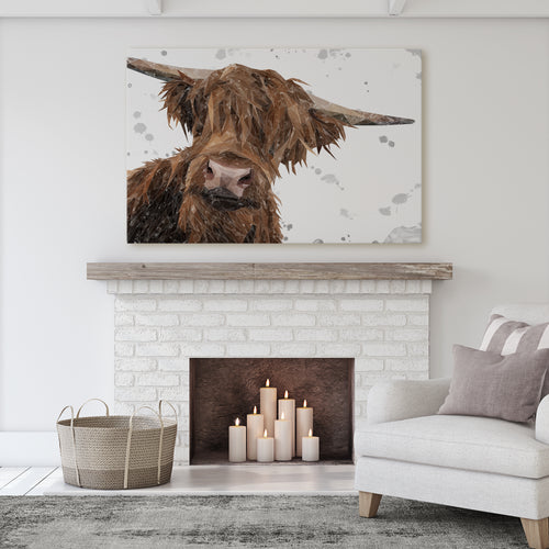 "NEW! ""Mac"" (Grey Background) The Highland Bull Massive Canvas Print"