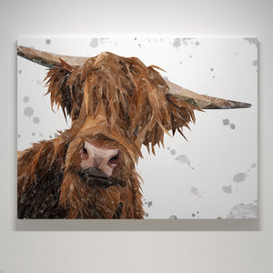 """Mac"" (Grey Background) The Highland Bull - Large Canvas Print"