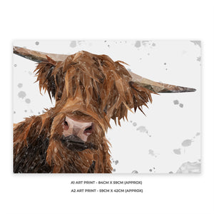 """Mac"" (grey background) The Highland Bull A1 Unframed Art Print"
