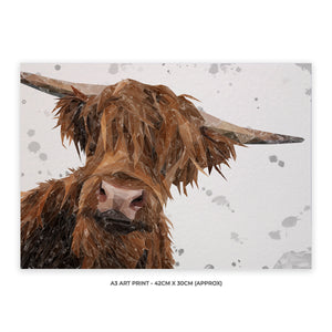 """Mac"" (grey background) The Highland Bull A3 Unframed Art Print - Andy Thomas Artworks"