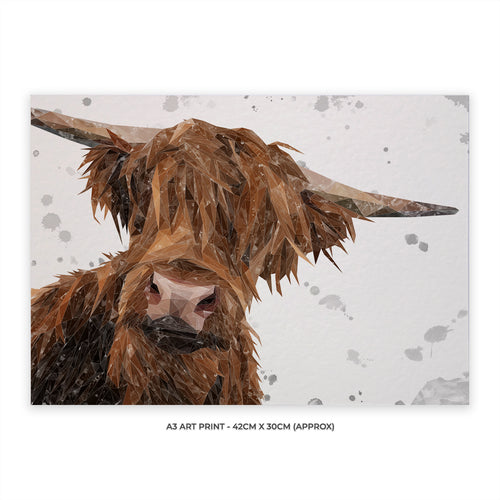 "NEW ""Mac"" (grey background) The Highland Bull A3 Unframed Art Print"