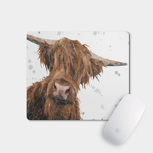 """Mac"" (Grey Background) The Highland Bull Mousemat - Andy Thomas Artworks"
