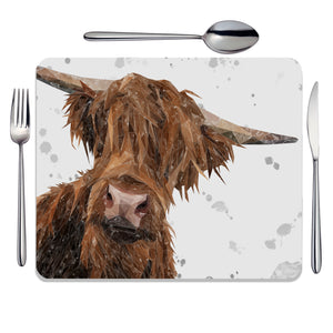 """Mac"" (Grey Background) The Highland Bull Placemat - Andy Thomas Artworks"