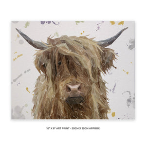 """Millie"" The Highland Cow (Grey Background) 10"" x 8"" Unframed Art Print - Andy Thomas Artworks"