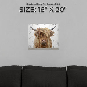 """Millie"" (Grey Background) The Highland Cow Small Canvas Print - Andy Thomas Artworks"