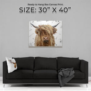 """Millie"" Grey Background - The Highland Cow Large Canvas Print - Andy Thomas Artworks"
