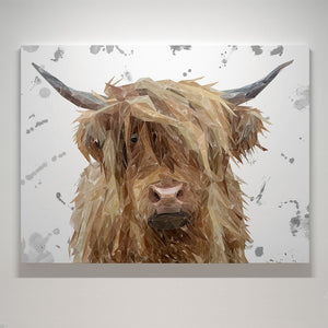 """Millie"" The Highland Cow (Grey Background) Canvas Print - Andy Thomas Artworks"