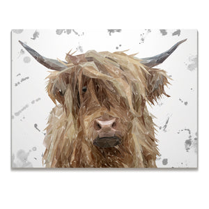 """Millie"" (Grey Background) The Highland Cow Skinny Canvas Print - Andy Thomas Artworks"
