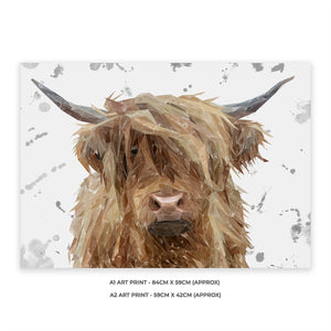 """Millie"" (grey background) The Highland Cow A1 Unframed Art Print - Andy Thomas Artworks"