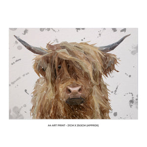 """Millie"" (grey background) The Highland Cow A4 Unframed Art Print - Andy Thomas Artworks"