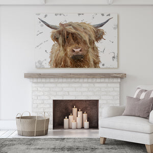 """Millie"" (Grey Background) The Highland Cow Massive Canvas Print - Andy Thomas Artworks"