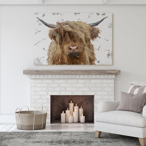 "NEW! ""Millie"" (Grey Background) The Highland Cow Massive Canvas Print"
