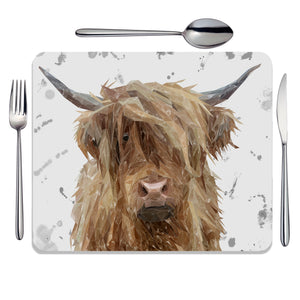 """Millie"" (Grey Background) The Highland Cow Placemat - Andy Thomas Artworks"