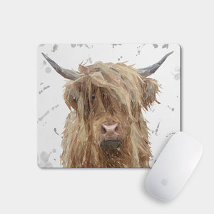 """Millie"" (grey background) The Highland Cow Mousemat - Andy Thomas Artworks"