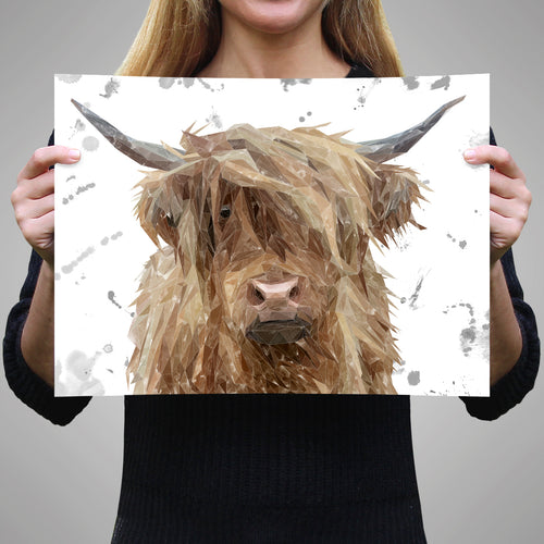 "NEW ""Millie"" (grey background) The Highland Cow A3 Unframed Art Print"