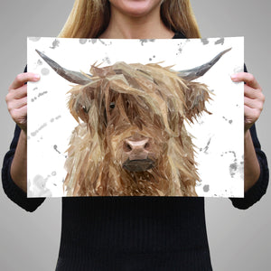 """Millie"" (grey background) The Highland Cow A2 Unframed Art Print - Andy Thomas Artworks"