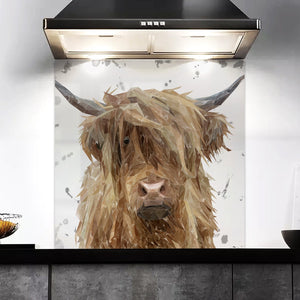 """Millie"" The Highland Cow (Grey Background) Kitchen Splashback"