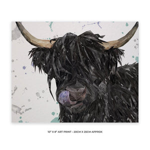 """Mabel"" The Highland Cow (Grey Background) 10"" x 8"" Unframed Art Print - Andy Thomas Artworks"